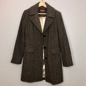 Merona Brown Plaid Wool Elbow Patch Trench Coat